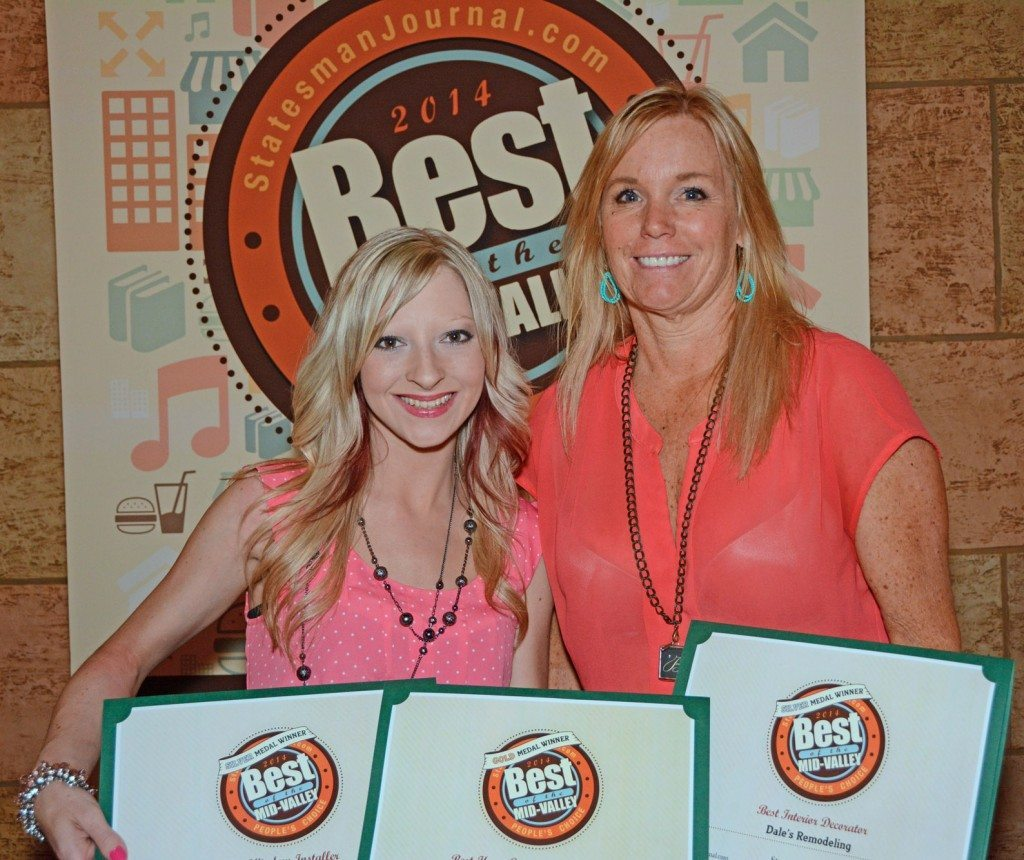 Becky Olsen with Kayla Van Lydegraf accepting Best of Mid-Valley Awards