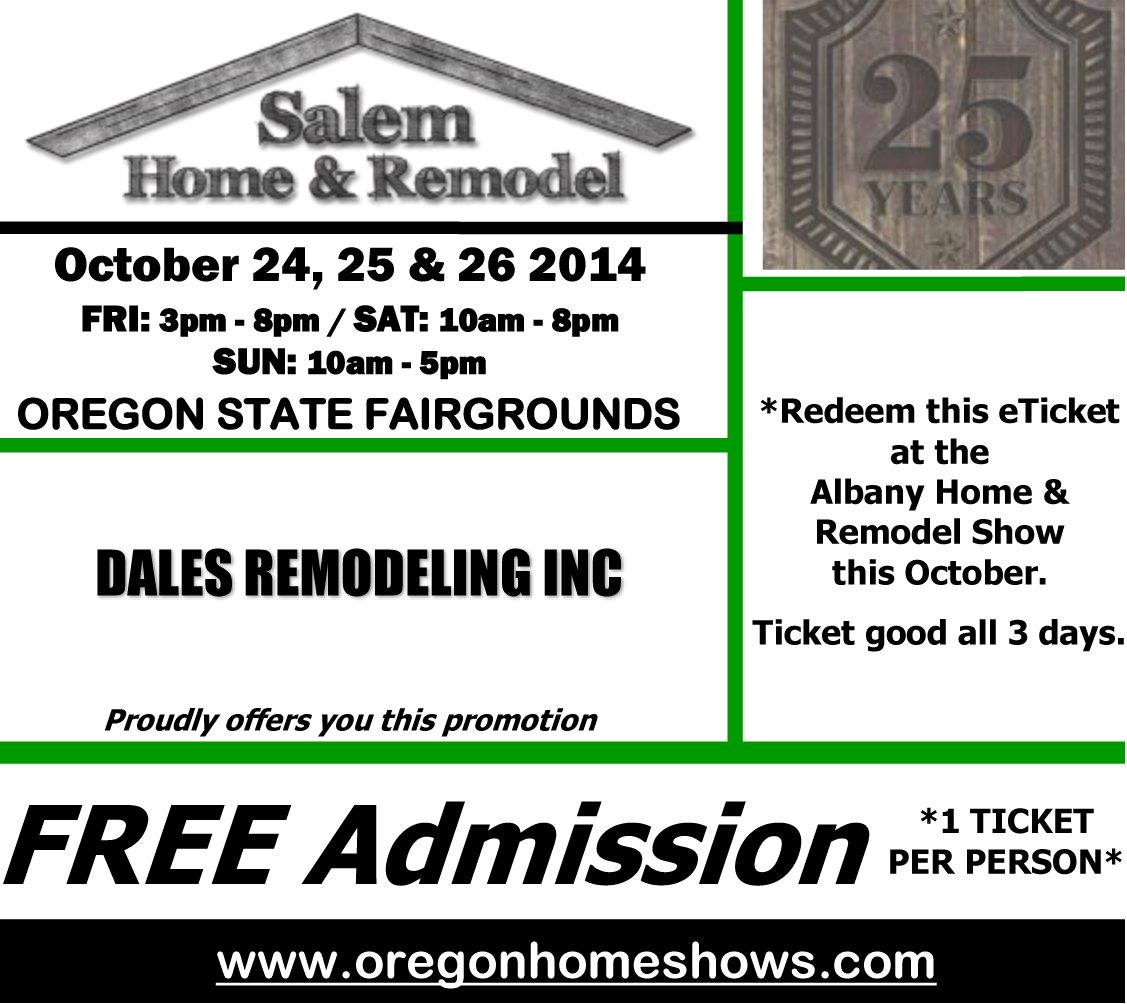 Home Design And Remodeling Show Tickets Free Tickets Salem Homeshow Dale 39 S Remodeling Salem