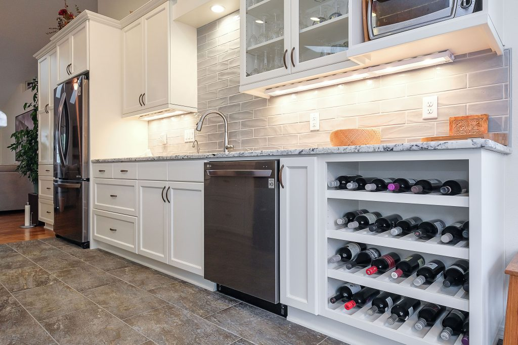 custom wine rack in kitchen remodel salem oregon